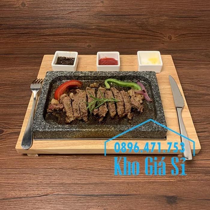 Miếng đá/Tấm đá Hàn Quốc nướng thịt BBQ, thịt bò có khay gỗ lớn để phục vụ3