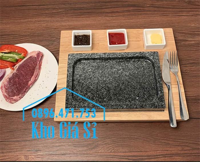 Miếng đá/Tấm đá Hàn Quốc nướng thịt BBQ, thịt bò có khay gỗ lớn để phục vụ5