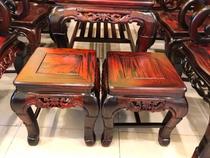 Bộ bàn ghế gỗ trắc đỏ Lào VIP chạm nho trúc3