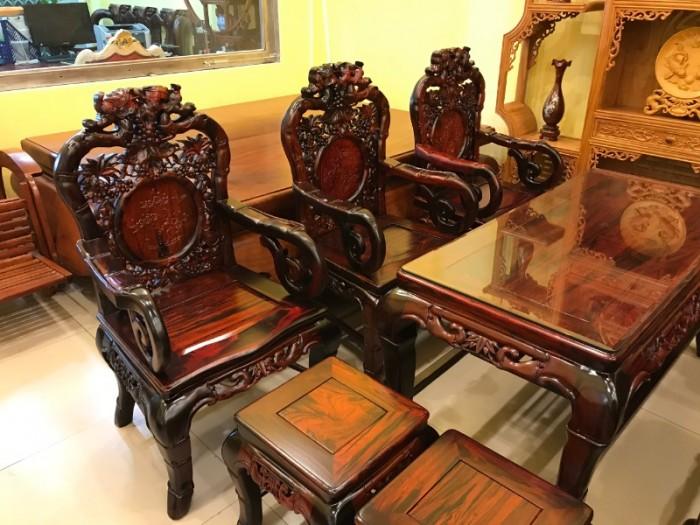 Bộ bàn ghế gỗ trắc đỏ Lào VIP chạm nho trúc8