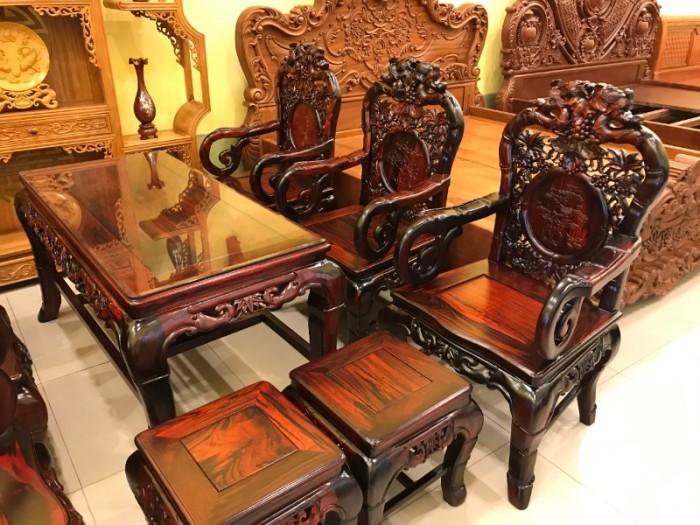 Bộ bàn ghế gỗ trắc đỏ Lào VIP chạm nho trúc0
