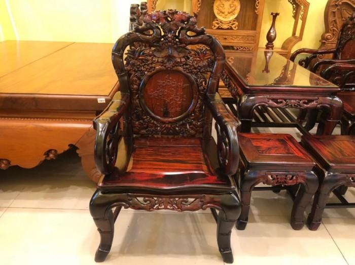 Bộ bàn ghế gỗ trắc đỏ Lào VIP chạm nho trúc6