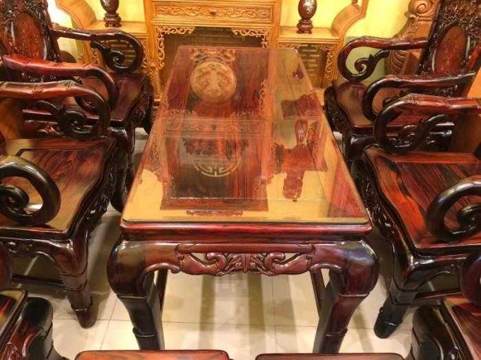 Bộ bàn ghế gỗ trắc đỏ Lào VIP chạm nho trúc5
