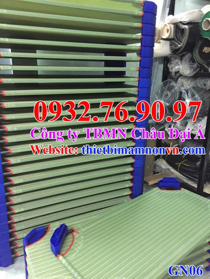 Giường lưới vải caro, sọc xanh dương, xanh rêu