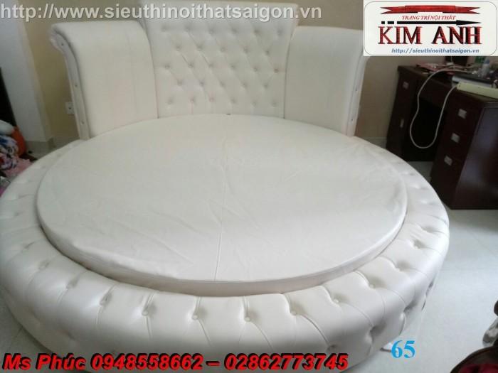 giường tròn bọc simili màu trắng