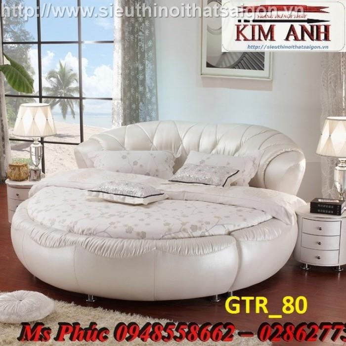 giường tròn ngọc trinh màu trắng tinh