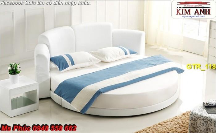 giường tròn gỗ bọc nệm màu trắng tặng drap