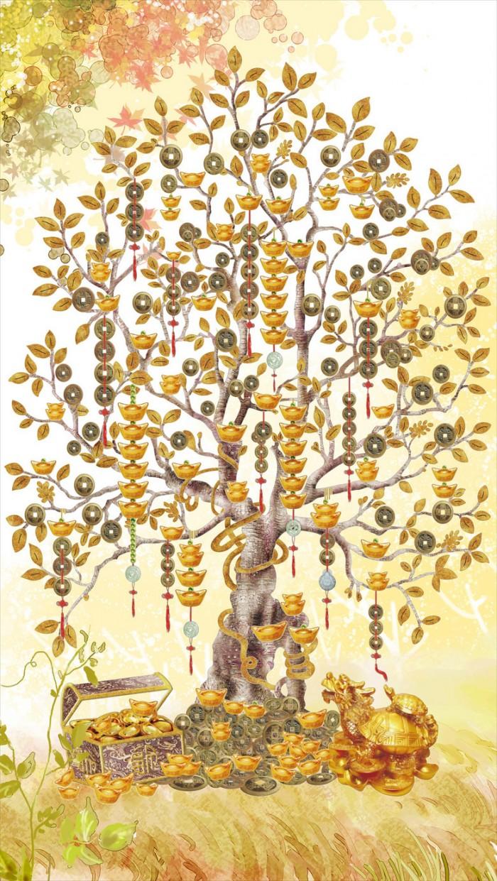 Tranh 3d cây tiền - 65VB7