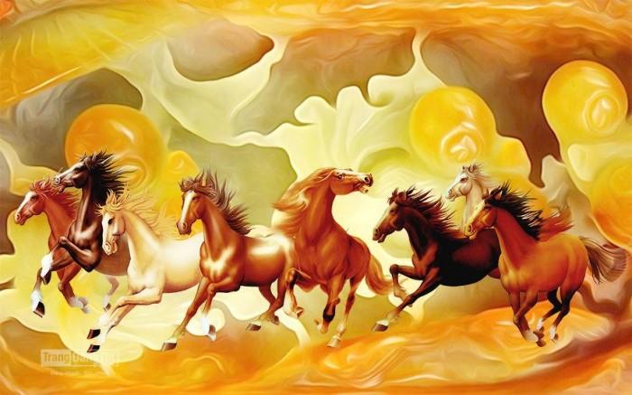 Tranh 3d con ngựa sứ ngọc sang trọng1