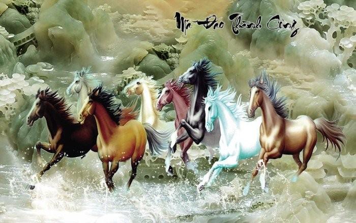 Tranh 3d con ngựa sứ ngọc sang trọng0
