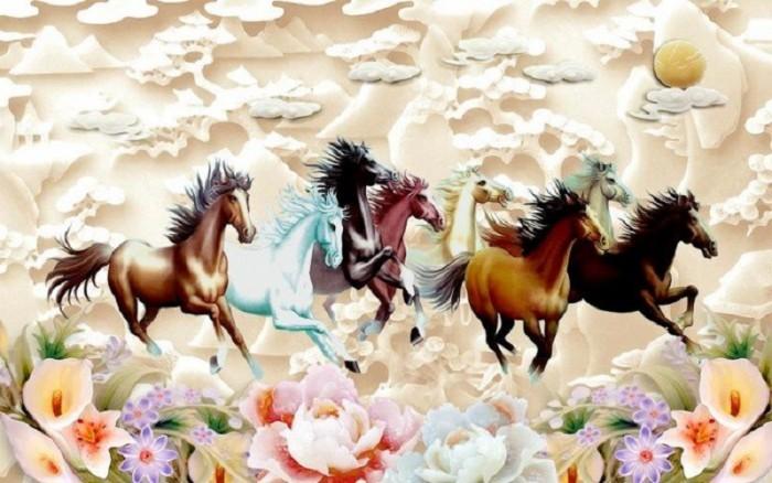 Tranh 3d con ngựa sứ ngọc sang trọng2