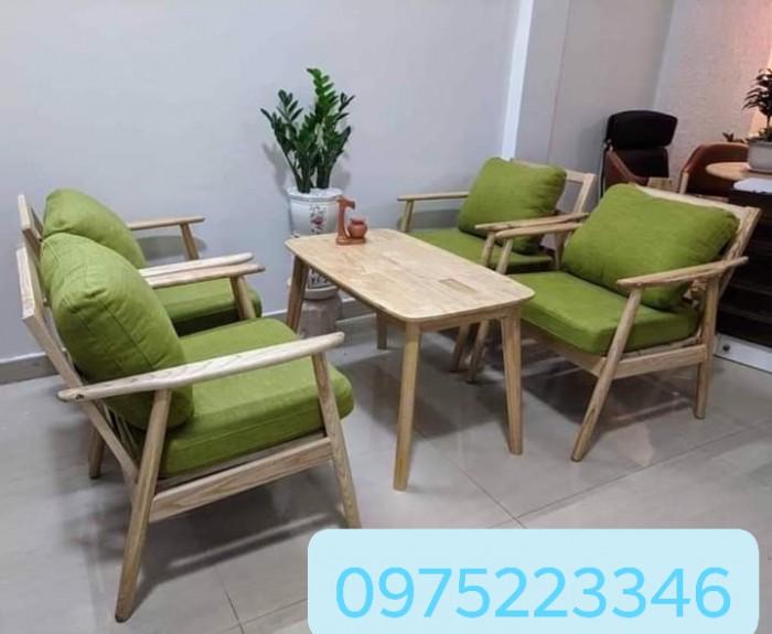 Sofa gỗ bọc nệm màu Da Bò cực đẹp và sang3