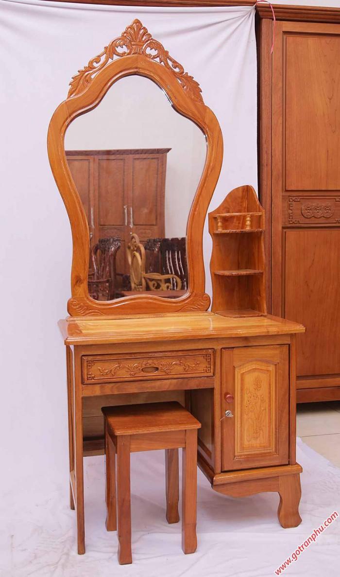 Bàn trang điểm gỗ căm gõ gương vòm ngang 80cm1