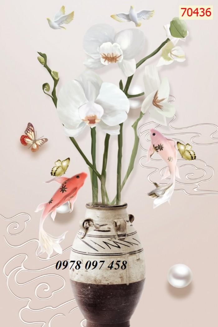 Tranh phòng khách- tranh gạch bình hoa 3D0
