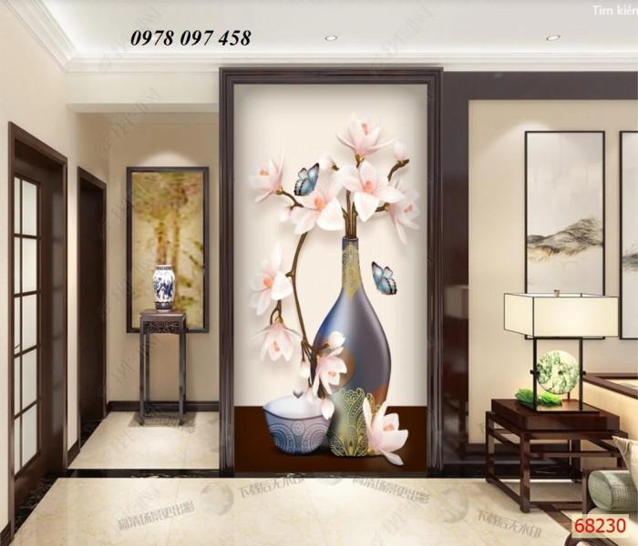 Tranh phòng khách- tranh gạch bình hoa 3D1