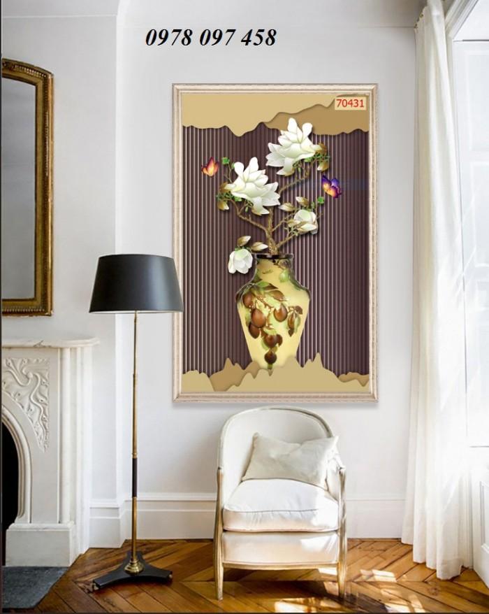 Tranh phòng khách- tranh gạch bình hoa 3D2