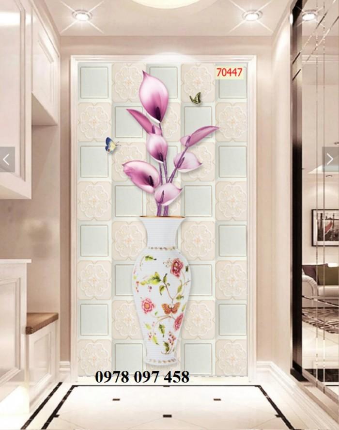 Tranh phòng khách- tranh gạch bình hoa 3D
