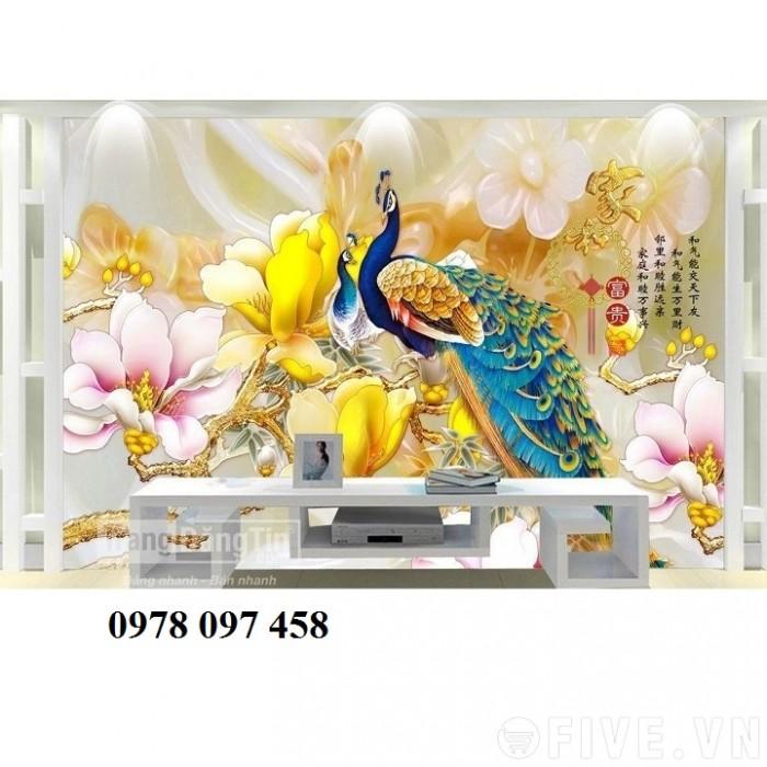 Tranh gạch chim công vàng