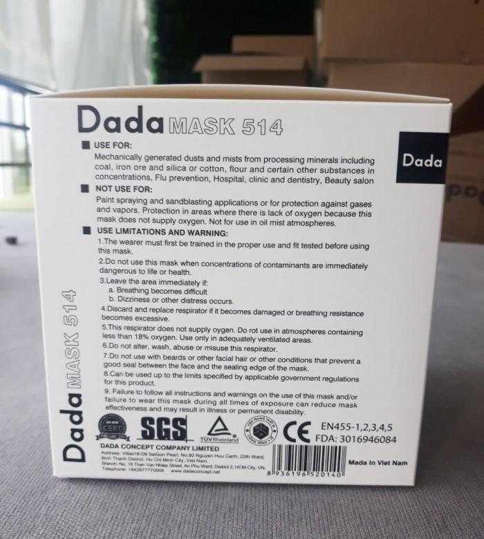 Khẩu trang y tế DaDa Mask VN95 514v – Hộp 5 cái màu trắng có van3