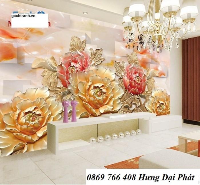 Tranh gạch 3D-Tranh hoa mẫu đơn2