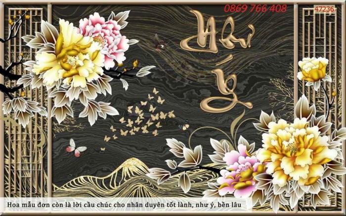 Tranh gạch 3D-Tranh hoa mẫu đơn7