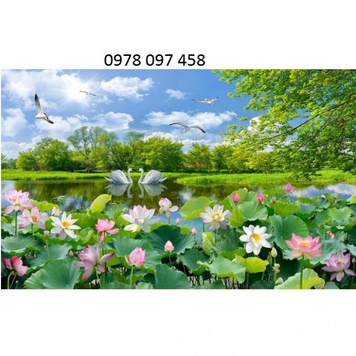 Tranh gạch - tranh hoa sen1