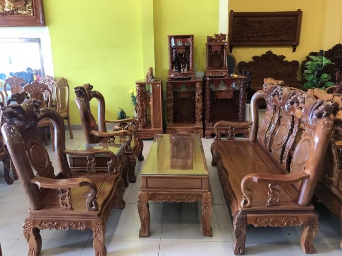 Bộ bàn ghế phòng khách tay 10 gỗ lim giá siêu rẻ5