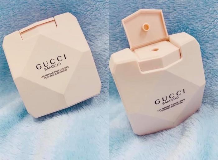 """Lotion nước hoa Gucci bamboo perfumed (Italia): 300k/chai  100ml          *** Sữa dưỡng thể nước hoa Gucci bamboo, sự kết hợp hoàn hảo giữa tinh chất sữa dưỡng và nước hoa.          *** Dưỡng da mềm mịn, tươi tắn, cải thiện độ đàn hồi, săn chắc da và chống lão hóa.           *** Hương thơm quyến rũ, lưu hương tốt           *** Thành phần thiên nhiên không gây hại da, không chất bảo quản.       Nếu có ai đó """"đẹp như mộng, thơm như hoa"""" thì chính xác là đang nói về mùi hương này   1"""