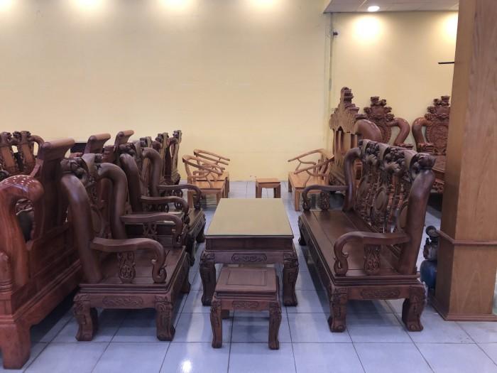 Bộ bàn ghế tay 12 chạm đào màu cổ điển sang trọng0