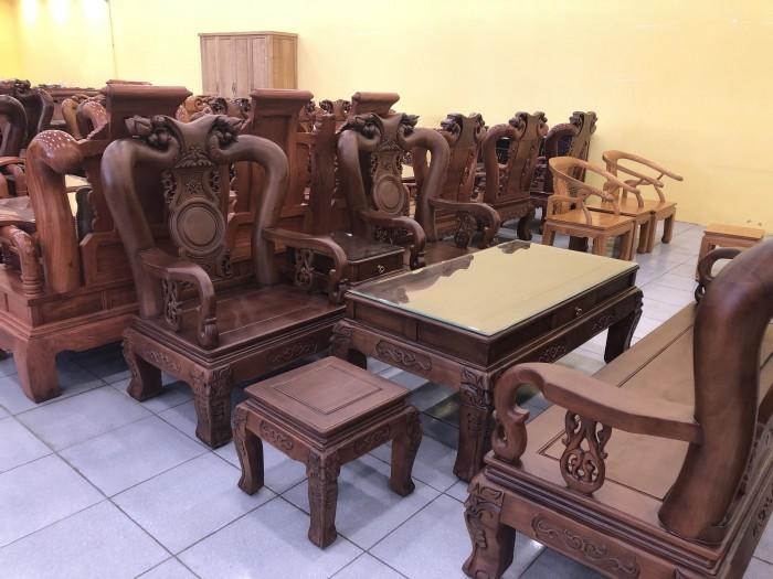 Bộ bàn ghế tay 12 chạm đào màu cổ điển sang trọng2
