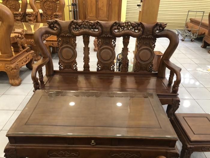 Bộ bàn ghế tay 12 chạm đào màu cổ điển sang trọng1