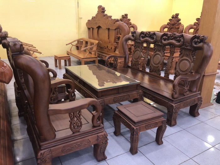 Bộ bàn ghế tay 12 chạm đào màu cổ điển sang trọng6