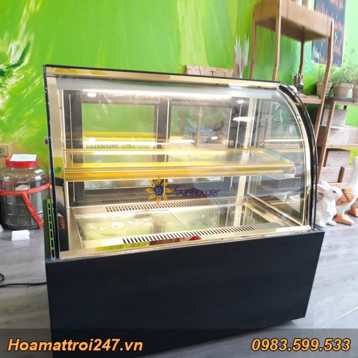 Tủ trưng bay bánh kem mini kính cong3