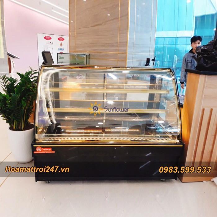 Tủ trưng bày bánh kem 3 tầng kính cong 1m24