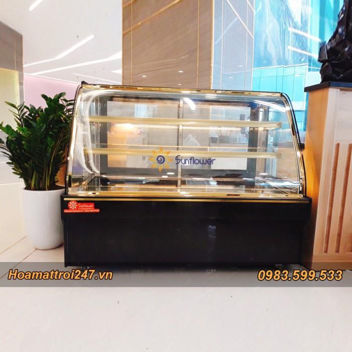 Tủ trưng bày bánh kem 3 tầng kính cong 1m25