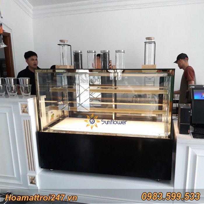 Tủ trưng bày bánh kem vuông 3 tầng 1m25