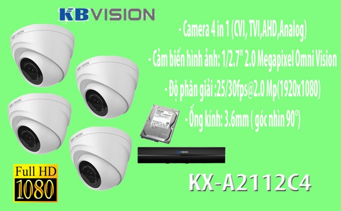 Gói 4 camera giá rẻ thương hiệu KBVISION0