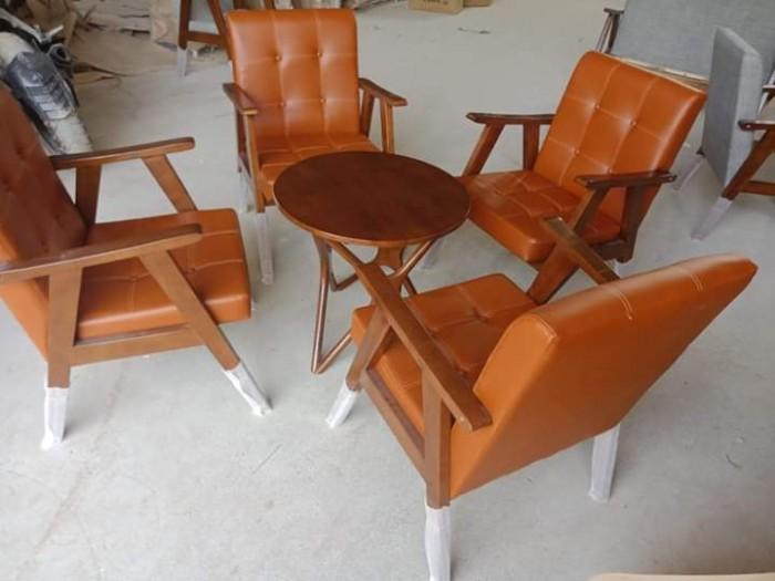 Sofa gỗ bọc nệm màu Da Bò cực đẹp và sang5