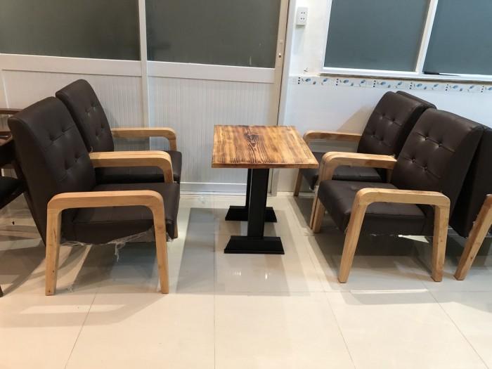 Sofa gỗ bọc nệm màu Da Bò cực đẹp và sang6