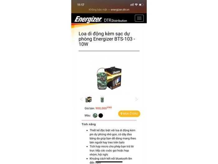 Loa Bluetooth tích hợp sạc dự phòng Energizer4