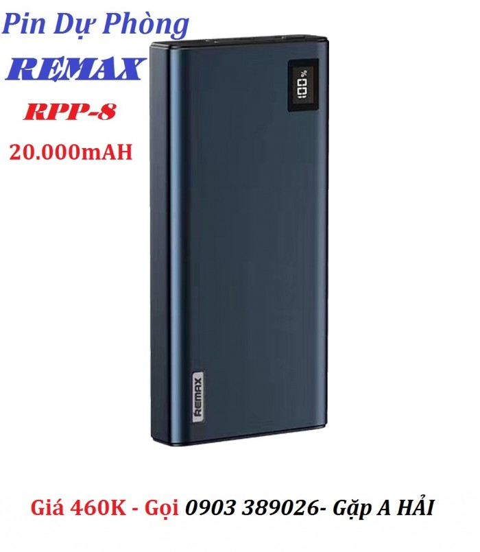 Pin sạc dự phòng Remax RPP-8 Đảm bảo an toàn khi sạc, hạn chế tình trạng quá nhiệt, tự động ngắt khi nạp đầy.