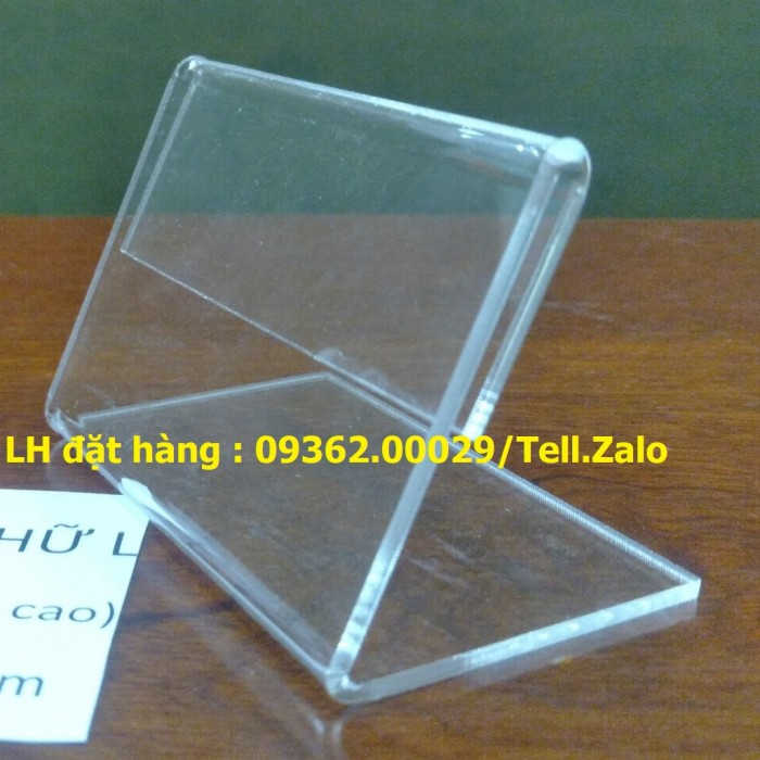 Bảng mica để giá sản phẩm- Kệ giá tiền mica trong uốn chữ L6