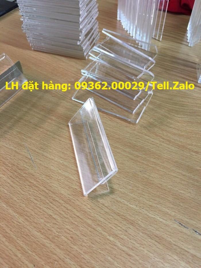 Bảng mica để giá sản phẩm- Kệ giá tiền mica trong uốn chữ L11