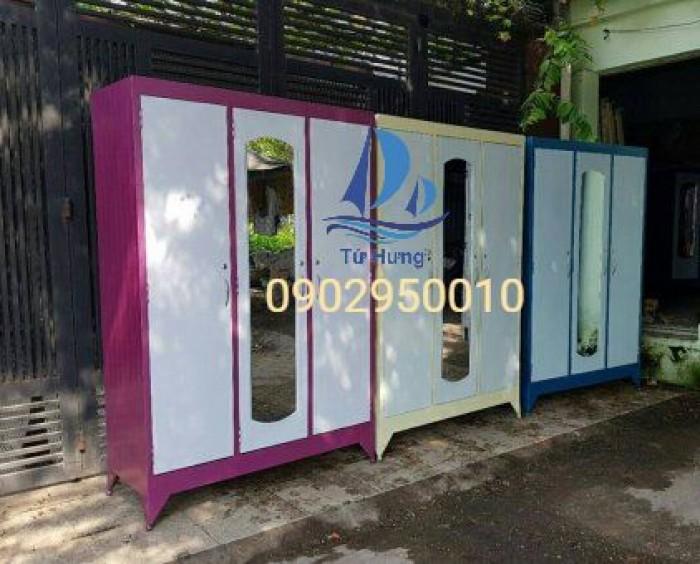 Tủ sắt quần áo giá rẻ 1m2x1m8 3 cánh0