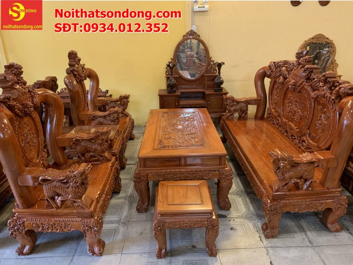 Bộ bàn ghế nghê đỉnh gỗ hương đá 6 món, tay 14 vip BBG0691