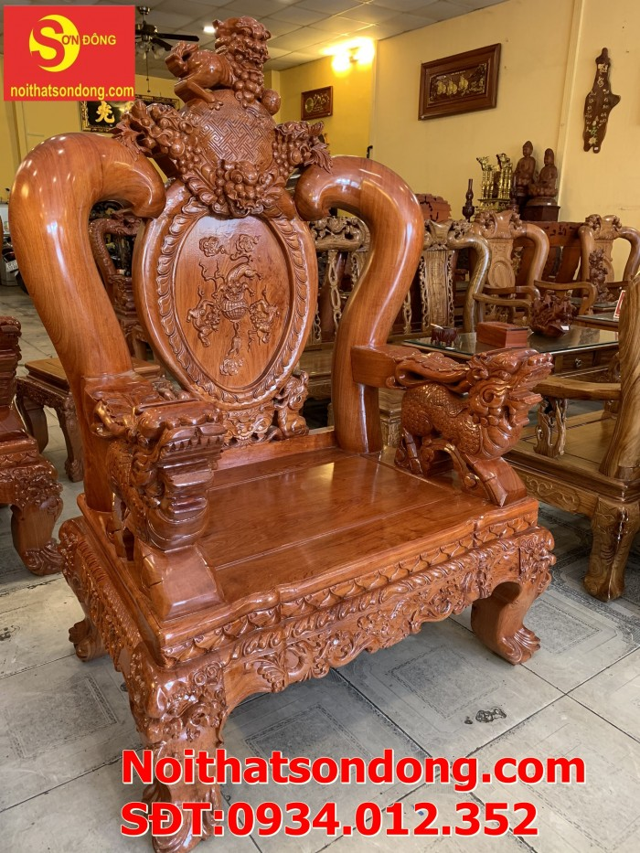 Bộ bàn ghế nghê đỉnh gỗ hương đá 6 món, tay 14 vip BBG0692