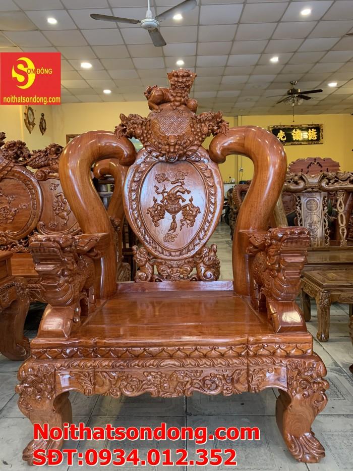 Bộ bàn ghế nghê đỉnh gỗ hương đá 6 món, tay 14 vip BBG0696