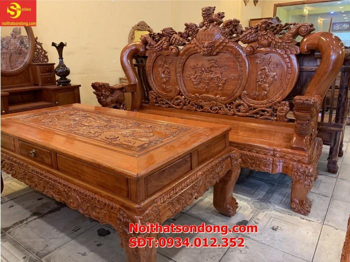 Bộ bàn ghế nghê đỉnh gỗ hương đá 6 món, tay 14 vip BBG0695