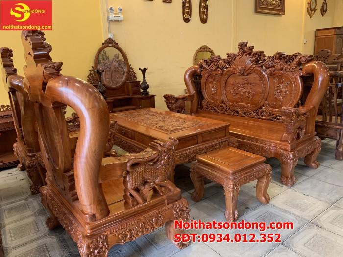 Bộ bàn ghế nghê đỉnh gỗ hương đá 6 món, tay 14 vip BBG0694