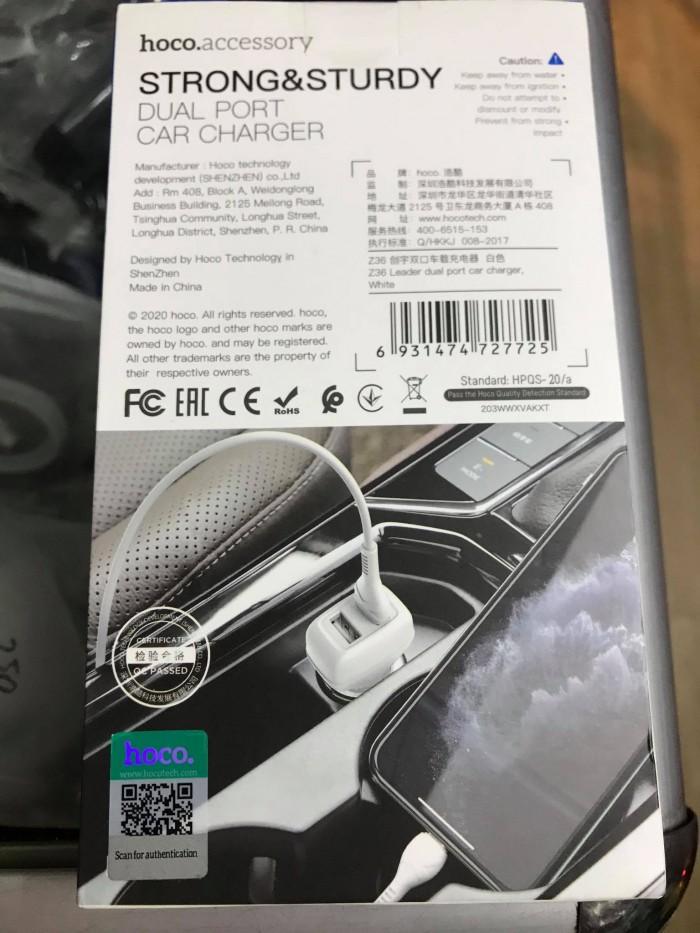 Củ sạc ô tô, xe hơi Hoco Z36 Chính hãng Hoco4